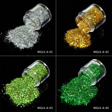 12Colors 10ml Holographic Glitter Powder Sequins for Nail Dust Polish Iridescent Spangle