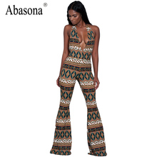Abasona Wide leg long jumpsuit overalls deep V-neck sleeveless special print casual romper Women jumpsuit sexy backless clubwear