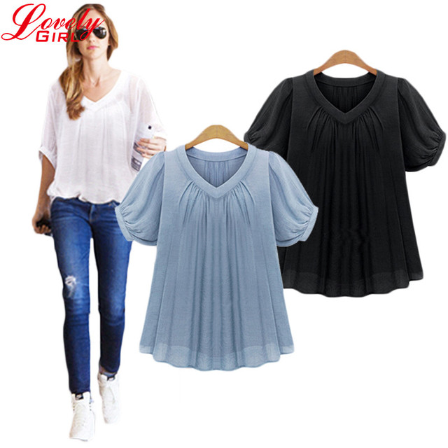 Women Chiffon Blouse 2016 Summer Style Plus Size Loose Pleated Black And Blue Color Blusas Chiffon Short Sleeve Casual Tops Sale