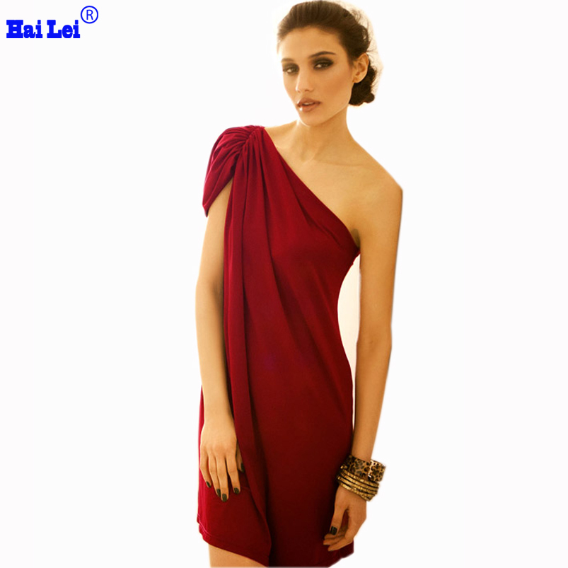 2015 One Shoulder Red Dress Women Plus Size Dresses Knee Length