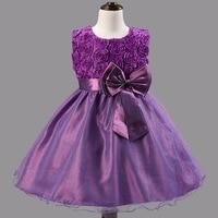 2016 nieuwe meisjes prinses jurk kinderen party wear sluier grote boog bloem meisje bruiloft jurken rose baby meisjes kleding