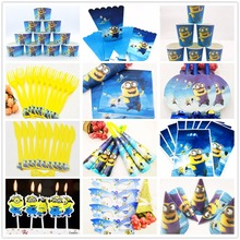 Minions birthday party supplies Decortation kids Disposable Tableware Tablecloth Paper Cup Plates Cake Baby Shower Banner Favors