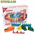 UTOYSLAND 200 Pcs De Madeira Blocos de Dominó Conjunto para Crianças De Corrida Jogos de Construção de Inteligência e Empilhar Blocos Educação Toy