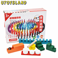 UTOYSLAND 200Pcs Wooden Domino Blocks Set for Kids Racing Games Intelligence Building and Stacking Blocks Education Toy