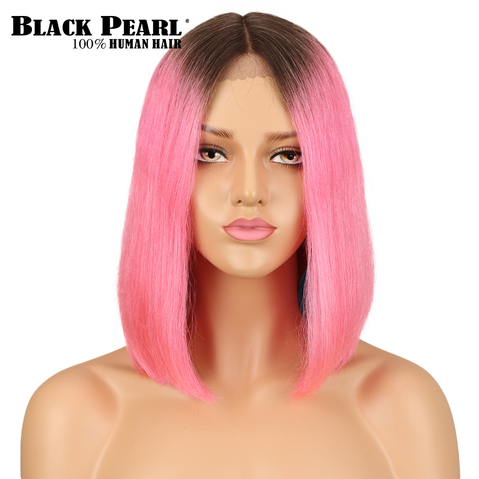 Middle Part Lace Front Human Hair Wigs For Women Brazilian  Straight Short Bob Ombre Pink Brick Red Color Lace Wig 130% Density