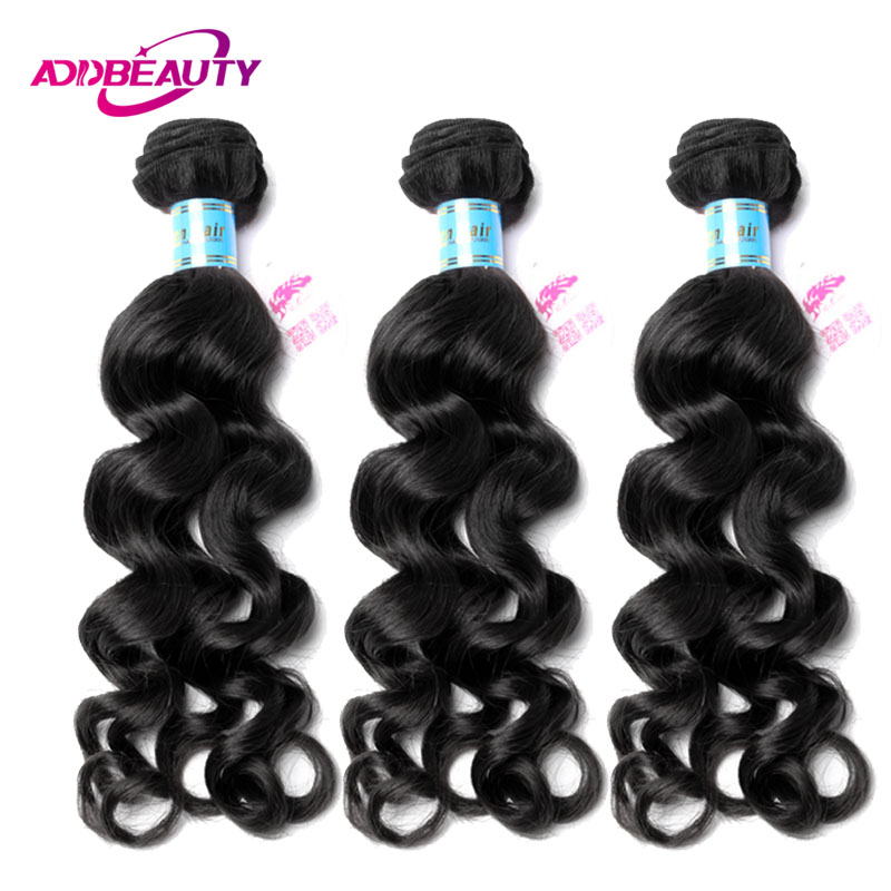 Addbeauty Unprocessed 100% Virgin Hair Bundle Peruvian Natural Wave Color 1 3 4 PCS Human Extension For Black Women Double Weft