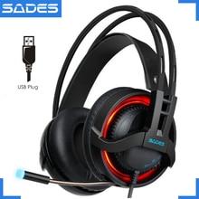 SADES R2 virtual 7.1 channel surround sound gaming headset auriculares de la computadora de respiración usb luces led con el mic para pc gamer