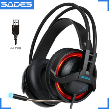 SADES R2 gaming headset virtual 7.1 channel surround sound computer headphones usb breathing led lights with mic for pc gamer