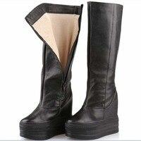Для женщин сапоги до колена все Ботфорты из натуральной кожи осень зима Дамская мода Толстая подошва обувь, увеличивающая рост; на платформ