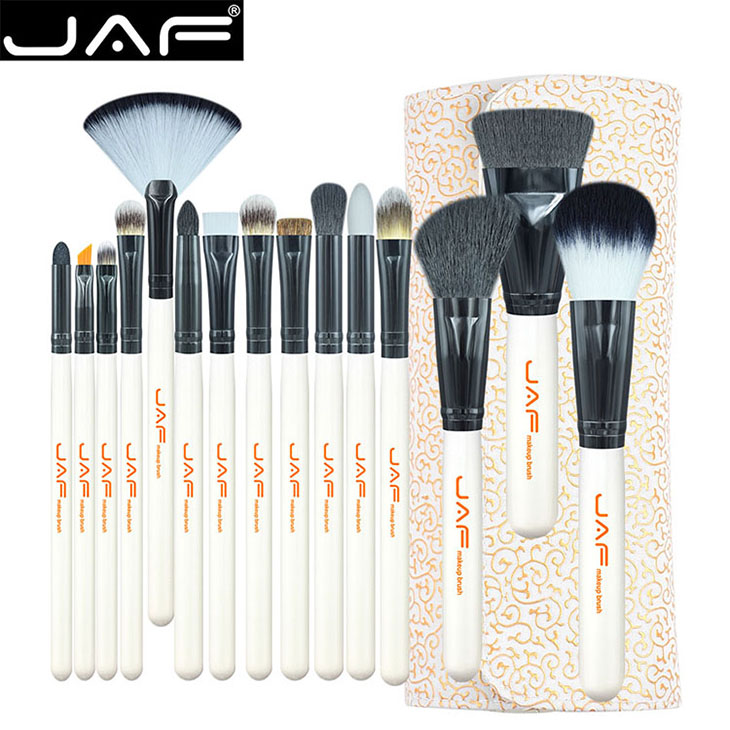 JAF 15Pcs Makeup Foundation Sets Brushes Powder Contour Eyeshadow Concealer Highlighter Blush Cosmetic Brush Kit with Makeup Bag new store free shipping beauty and the beast rose gold makeup brush cosmetic brush woman gift eyeshadow contour concealer