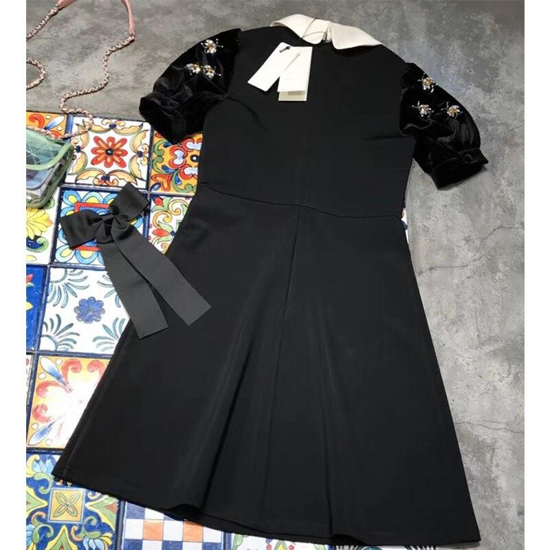 2018 Une Femmes Chic Diamant Cosmicchic Automne Noire Robe Claudine Défilé De Mode Hiver Black Dress Partie Ligne Col Bouffée Manches 61q1pPw