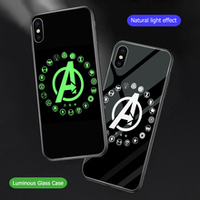 ciciber Marvel Luminous Glass Case for iPhone 7 8 6 6S Plus Back Shell Cover 11 Pro Max XR X XS Coque Iron Man