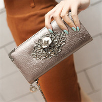 2016 Hot Fashion Metal Skull Pattern PU Leather Long Wallets Women Wallets Portable Casual Lady Cash