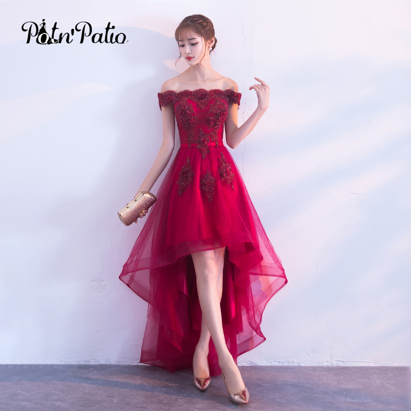 Sexy Boat Neck Off The Shoulder Sleeveless Luxury Appliques Beading Flower Burgundy High Low Prom Dresses For Graduation Party