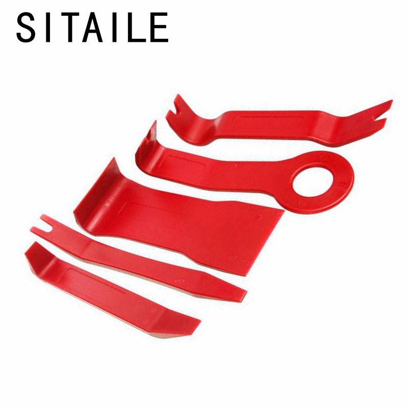 SITAILE 5pcs Auto Trim Removal Pry Open Tool Kit for Car Dash Radio Door Trim Panel Clip Panel Clip Lights/Radio Blue Red