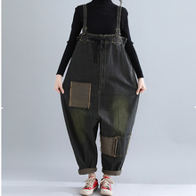 Plus Size Jeans Woman Vintage Autumn Winter Jumpsuits Patchwork Pockets Zip Design Black Jeans Mid Waist Denim Harem Pants