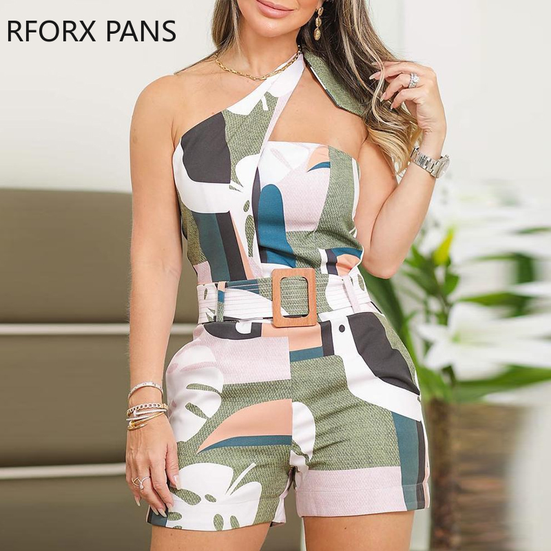 RFORX PANS One Shoulder Knotted Detail Abstract Print Romper