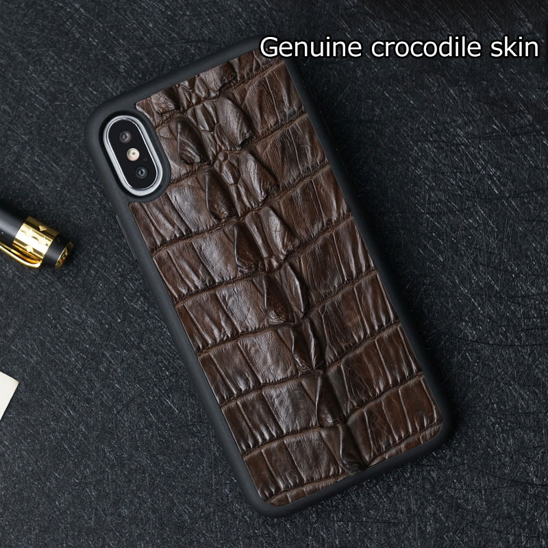 100% Genuine Crocodile Leather Luxury Case For iphone X XR XS Max Cover for iPhone 7 8 6 5 Plus 6S Phone Cases 2019 funda Men