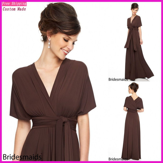 New Arrival Brown Bridesmaid Dresses V neck Floor Length Elegant Short  Sleeves Gowns Formal Wedding Party Dress JY-006 84c999298d6d