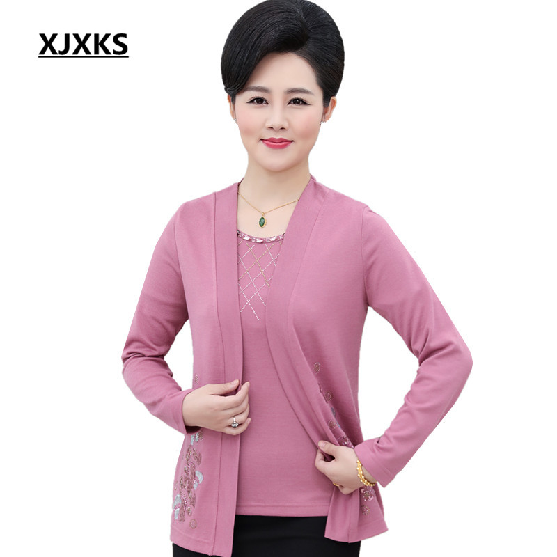 XJXKS Knitted Women Spring Autumn Round Neck Beading Clothing Sweater Sets Large Size Streetwear Women's Set