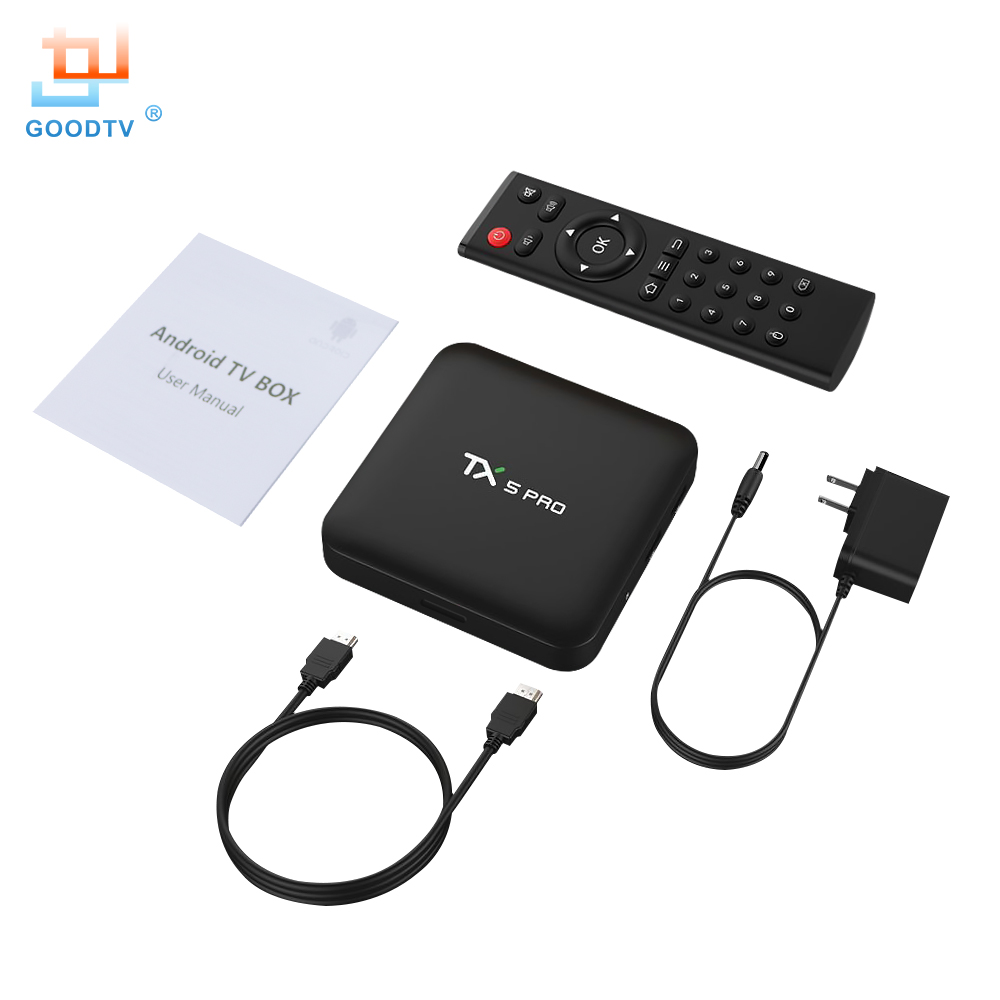 GOODTVTX5 PRO Smart TV Box Android 7.1 Amlogic S905 X Core 2GB RAM 16GB ROM 4K Ultra HD 2.4G 5G Dual-band Wi-Fi Bluetooth 4.1 beelink a9 quad core android 4 2 google tv player w 2gb ram 8gb rom bluetooth 5g wi fi black
