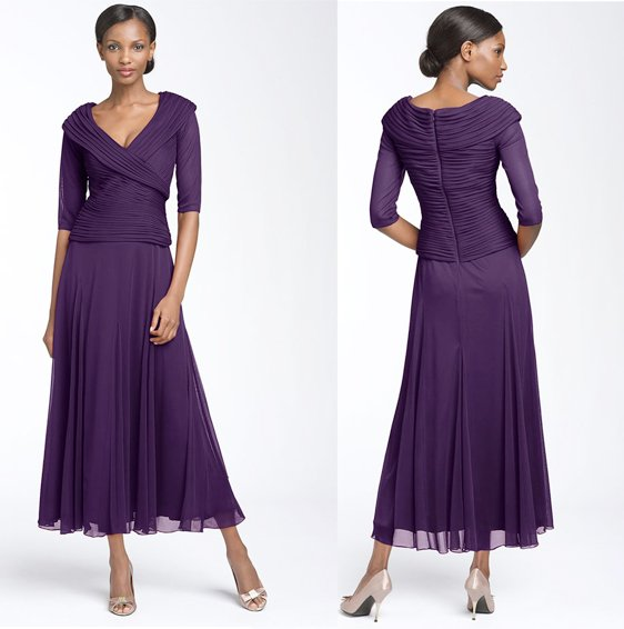 Elegant Long Sleeve Tea Length Wedding Dresses Simple: 2011 MM042 Elegant Chiffon V Neck Design Three Quarter