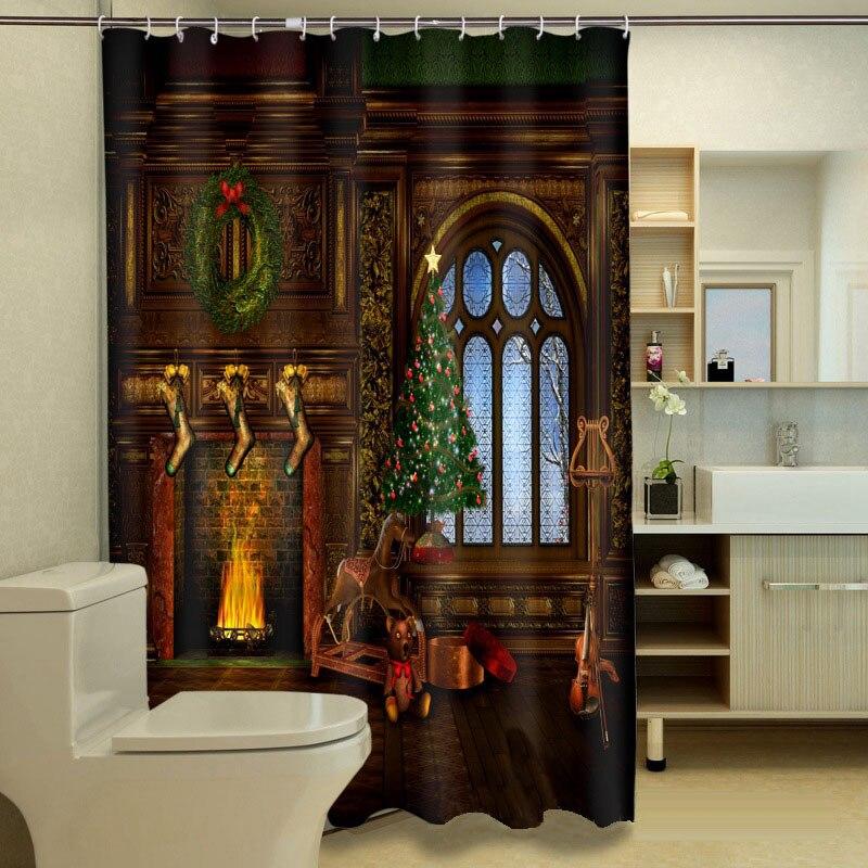 MYRU 3D Imprimir Impermeable Navidad Cortinas De Ducha Productos de Baño Decorac
