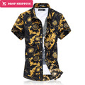 Men's Floral Dress Shirt Big Size 5XL 6XL Men Slim Fit Short Sleeve Casual Chemise Camisa Social Male Brand ClothingSummer,GX549