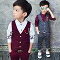 2016 de Alta Moda Ropa de Niño Traje Niño 2 Unids de Puntos Chaleco + pantalones de Los Niños de Primavera y Otoño Que Arropan el sistema Formal Para La Boda