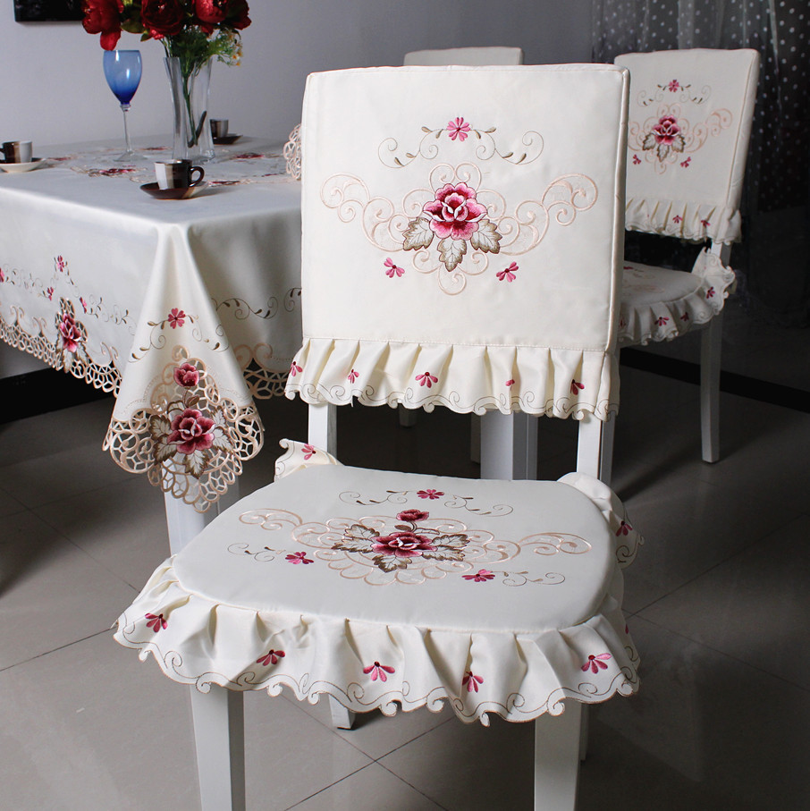 Satin Fabric Pastoral Dining Chair Cover Embroidered