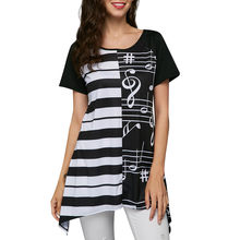b4a3af22f6d (Ship from US) Summer Tops For Womens Tops and Blouses 2018 Streetwear Musical  Note Print Shirts Tunic Ladies Casual Top Clothes Womens