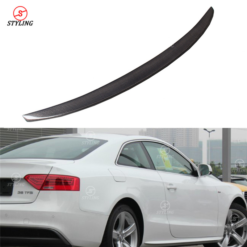 For Audi A5 Carbon Spoiler S5 Style A5 Coupe Carbon Fiber rear spoiler Rear Bumper trunk wing add on Style 2-Doors Styling 2013+ for audi a5 carbon rear spoiler s5 style carbon fiber rear spoiler rear trunk wing coupe 2 doors car 2013 2014 2015 2016 2017 on