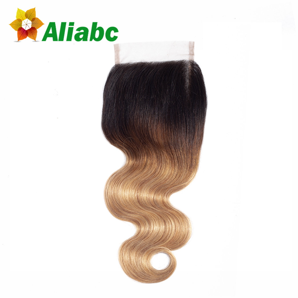 Aliabc Body Wave 4x4 Lace Frontal Closure T1b-4-27 Non Remy Brazilian 8-20 Inch 100% Human Hair Extensions Free Shipping Selling Well All Over The World Human Hair Weaves