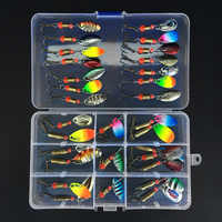 30/10pcs Mixed Fishing Lures Spoon Bait Set Metal Lure Kit Sequins Fishing Lures with Box Treble Hooks Fishing Tackle Hard Bait