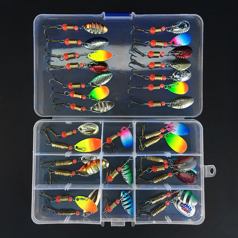 31pcs Mixed Fishing Lures Spoon Bait Set Metal Lure Kit Sequins Fishing Lures with Box Treble Hooks Fishing Tackle Hard Bait fishing lure 1 box metal iron hard bait sequins jigging spoon lures and fishing connector pin fishing tackle pesca accessories