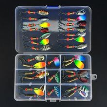 31pcs  Mixed Fishing Lures Spoon Bait Set Metal Lure Kit Sequins with Box Treble Hooks Tackle Hard