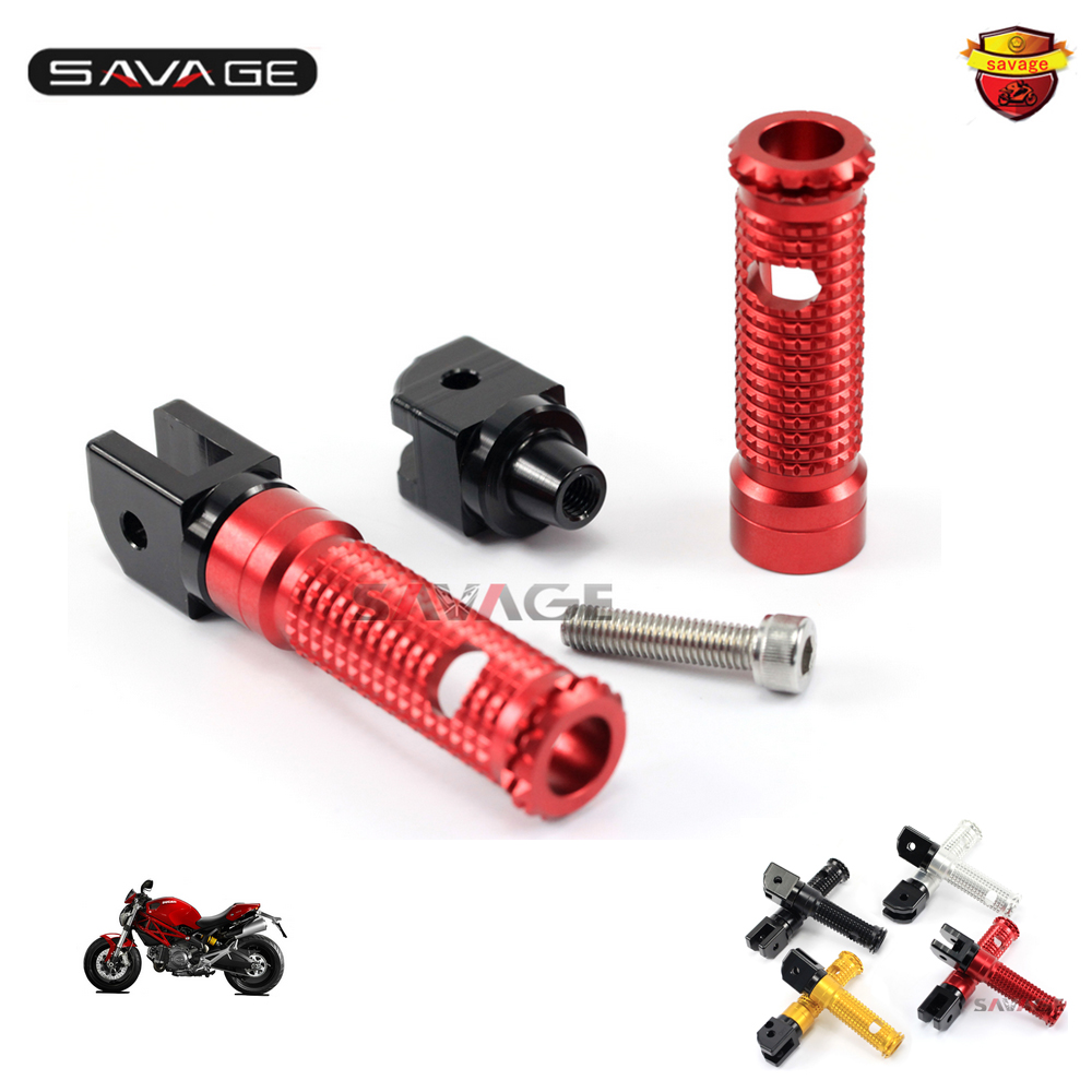 For DUCATI MONSTER 659/696/796/1100/S/EVO Motorcycle CNC Aluminum Rider/Passenger Front/Rear Foot Pegs Adapters ...