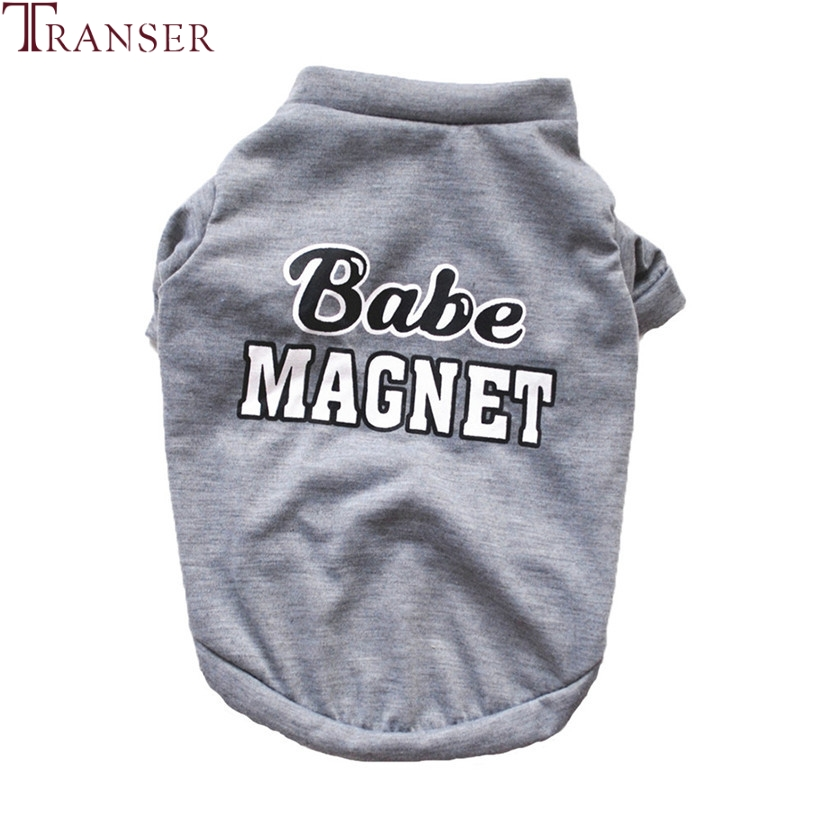 Transer Dog Clothes BABE MAGNET Letter Print Dog Shirt Summer Gray Pet Tees For Small Dogs 80406