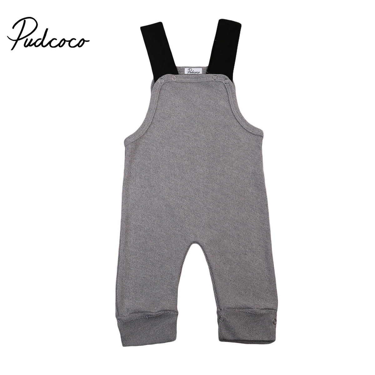 Cute Newborn Baby Boys Girls 2017 New Knit Sleeveless   Romper   Jumpsuit Bib Pants Overalls Clothes