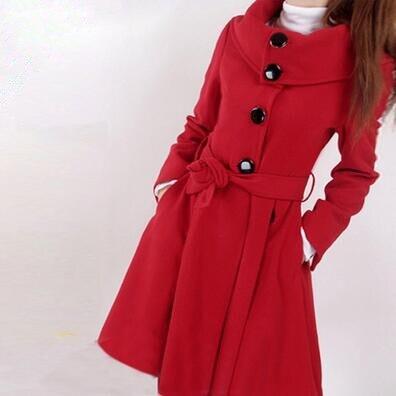 High Quality Autumn Winter Coat Women Wool Single-Breasted Outerwear Long Wool Coat Women high neck Wool Coat