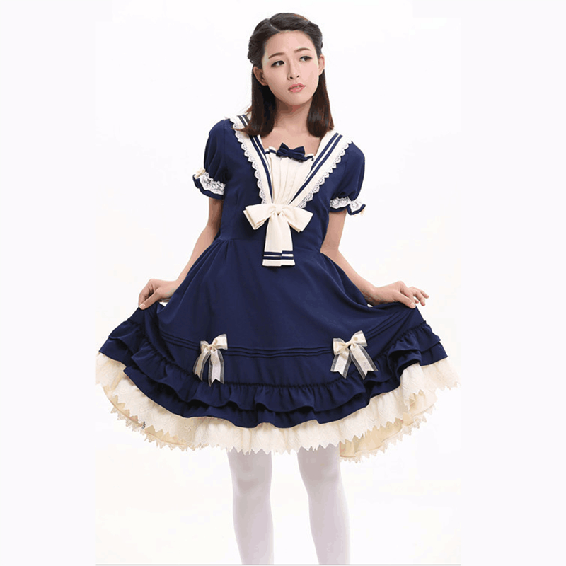 Lolita mode fille robe arc dentelle plis Cosplay Halloween Carnaval Costume adulte robe de bal femmes Maxi robe de haute qualité