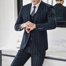 3 Piece Suits Men Tuxedo Retro Tweed Green Striped Designer Formal Wedding for Slim Fit Plus Size 5XL MAUCHLEY 2018