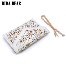 DIDA BEAR CrossBody Hollow Out Messenger Shoulder Bag WOMEN Envelope Bag Lady Clutches Purse with Chain Bolsos Bolsas Sac A Main