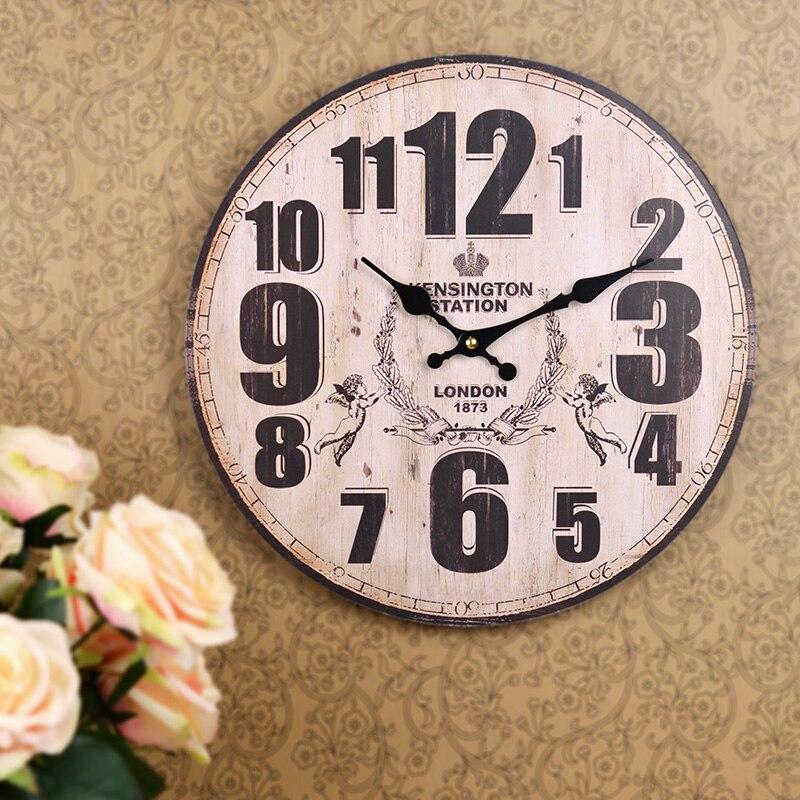 Nostalgia British Wood Large Decorative Wall Clocks London 1873 Circular Electronic Clock Home Decor