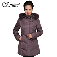Smiao 2017 Middle Aged Winter White Duck Down Jacket Women Plus Size Winter Coat Female Fur