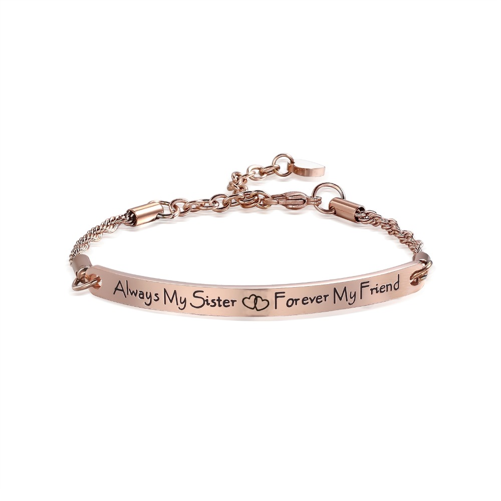 Engrave Bar ID Bracelet Quote Fashion Women Jewelry Sister Friendship Bracelets Bangles Gift Always my sister forever my friend fashion diamante heart embellished sister bracelet for women