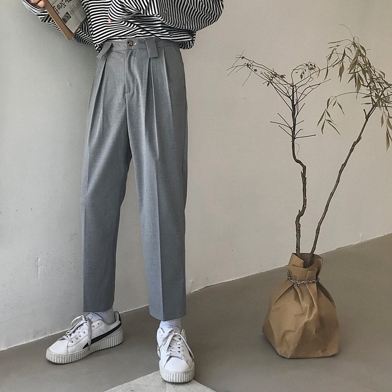 2019 Men's Leisure Cotton Suit Pants Mens High Quality Fabrics Harem Casual Pants Western-style Light Grey/black Color Trousers