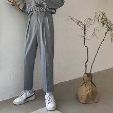 Pantalones de algodón para hombre, ropa masculina de alta calidad, informal, estilo harén, Color gris claro/Negro, 2020
