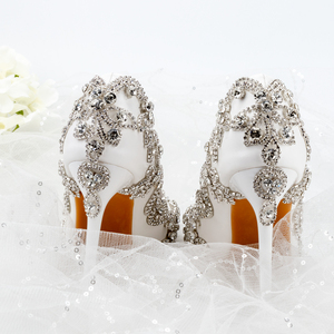 Image 2 - נשים נעלי עקבים גבוהים חתונה דק עקבים לבן יהלום נוצץ שמלת ערב נעלי כלה נעלי גביש משאבות למסיבה