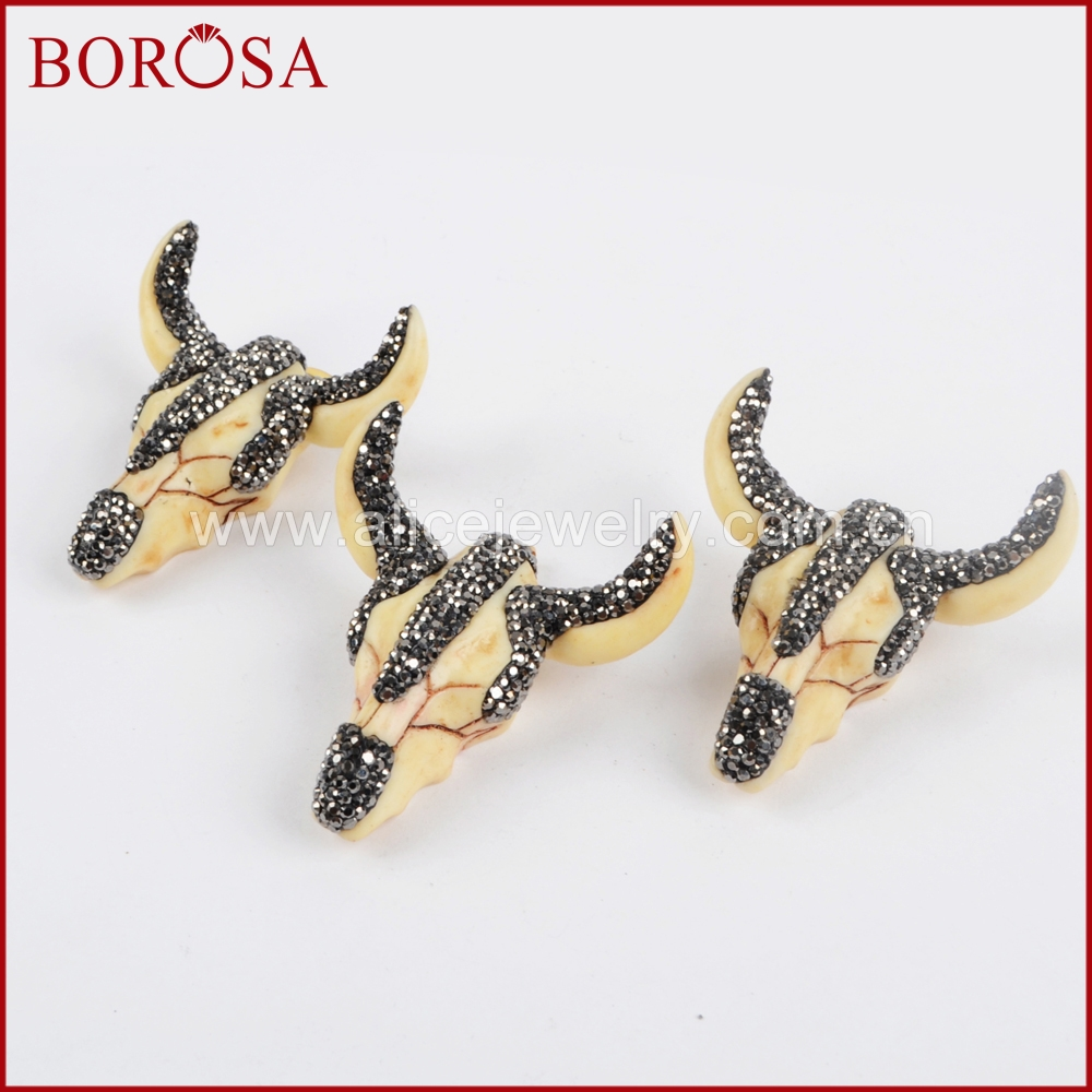 BOROSA Ρητίνη Ox Κεφαλή κρεμαστό κόσμημα Bull βοοειδών Longhorn Druzy κρεμαστό κόσμημα Rhinestone Pave Gems κοσμήματα μόδας για τις γυναίκες JAB634